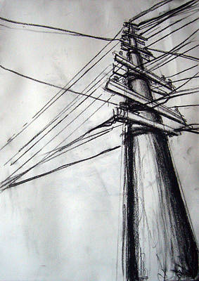 Telephone Poles Drawing - Busy Telephone Pole by Caleb Fleisher