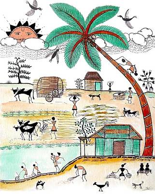 Painting - Busy Warli Day by Anjali Vaidya