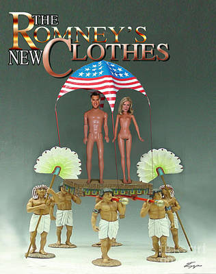 Romney Digital Art - But-but They Are Not Wearing Any Clothes - Mitt Ken And Anne Barbie Romney  by Reggie Duffie