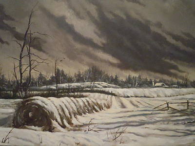 Art Print featuring the painting Butler Farm In Winter by James Guentner