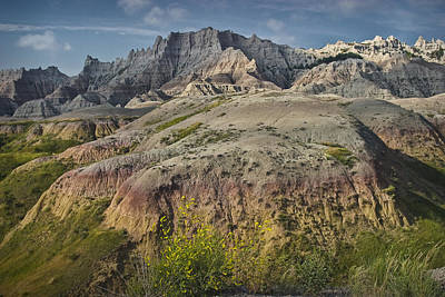 Butte Formation In Badlands National Park Art Print by Randall Nyhof