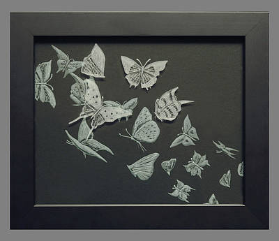 Carved Glass Painting - Butterflies by Akoko Okeyo