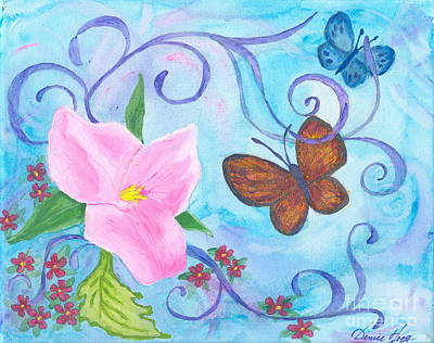 Painting - Butterflies And Flowers by Denise Hoag