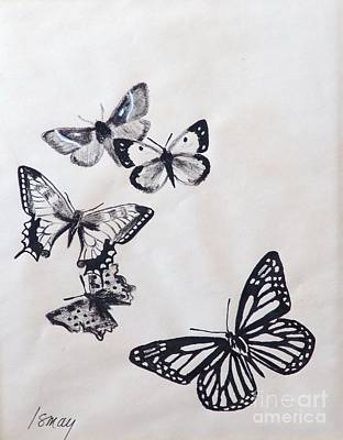 Art Print featuring the drawing Butterflies And Moths by Rod Ismay