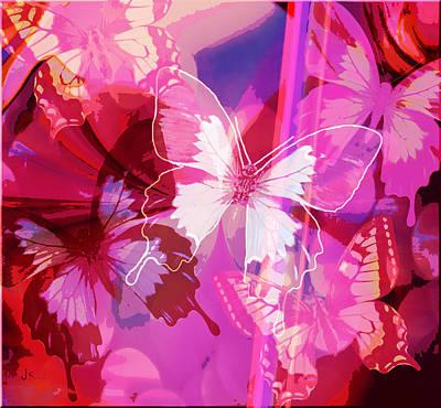 Butterflies En Rouge Art Print by Jan Steadman-Jackson