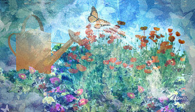 Watering Can Mixed Media - Butterflies In The Garden by Arline Wagner