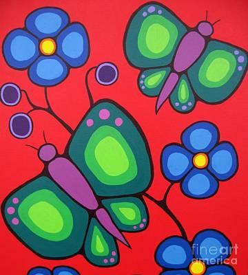 Shamanic Painting - Butterflies by Jim Oskineegish