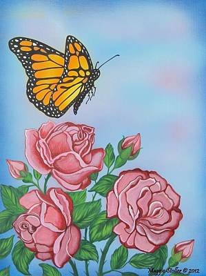 Butterfly And Roses Art Print by Margaret Stoller