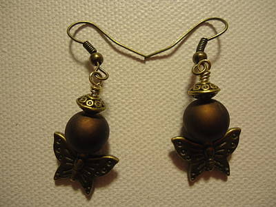 Gold Earrings Photograph - Butterfly Brown Earrings by Jenna Green