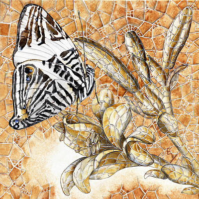 Art Print featuring the painting Butterfly Mosaic 02 Elena Yakubovich by Elena Yakubovich