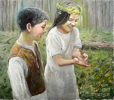 Painting - Butterfly On Hand by Eugene Maksim