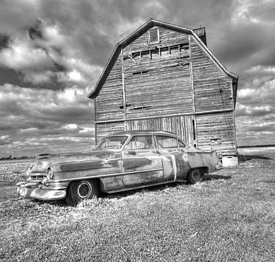 Bw - Rusty Old Cadillac Art Print by Peter Ciro