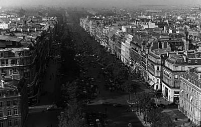 Bw France Paris Champs Elysees Avenue 1970s Art Print by Issame Saidi