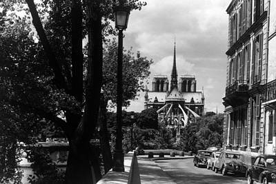 Bw France Paris Notre Dame Saint Louis Island 1970s Art Print by Issame Saidi