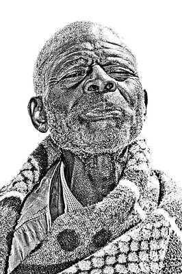 Lesotho Photograph - Bw Lesotho Mountain Man Portrait by Joe Lategan