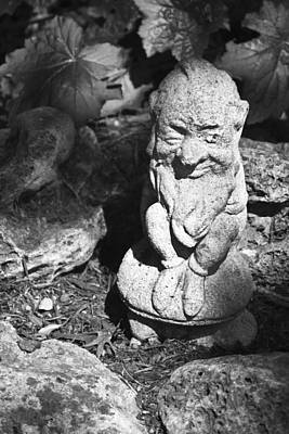 Good Luck Photograph - Bw Winking Garden Gnome by Teresa Mucha