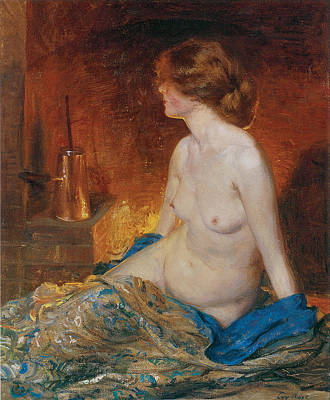 Partial Nude Painting - By The Fireside by Guy Orlando Rose