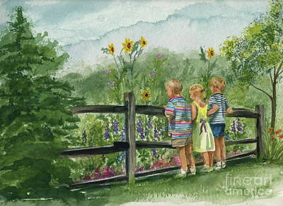 Art Print featuring the painting By The Garden Fence  by Nancy Patterson