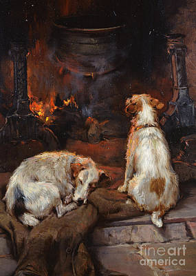 Iron Wire Painting - By The Hearth by Philip Eustace Stretton