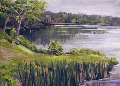 Painting - By The Lake by Nancy Griswold