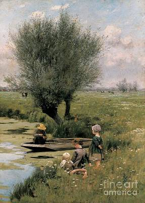 By The Riverside Art Print by Emile Claus
