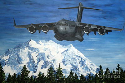 Painting - C-17 And Mt. Rainier by Holly York