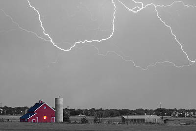Photograph - C2c Red Barn Lightning Rodeo Bw Sc by James BO  Insogna