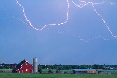 Photograph - C2c Red Barn Lightning Rodeo  by James BO  Insogna