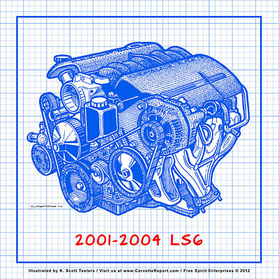 C5 2001 - 2004 Ls6 Z06 Corvette Engine Blueprint Art Print