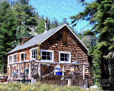 Cabin By The Lake Art Print by Anne Raczkowski
