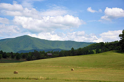 Tennessee Hay Bales Photograph - Cabin In The Smokies by Jan Amiss Photography
