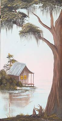 Cabin In The Swamp Art Print by Mary Matherne