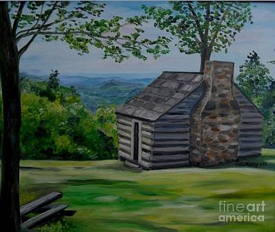 Art Print featuring the painting Cabin On The Blue Ridge Parkway In Va by Julie Brugh Riffey