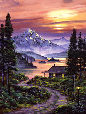 Mountain Snow Landscape Painting - Cabin On The Lake by David Lloyd Glover