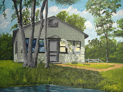 Northwoods Painting - Cabin Up North by Norm Starks