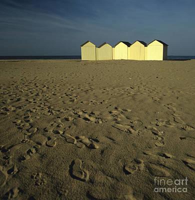 Cabins On A Beach In Normandy Art Print by Bernard Jaubert