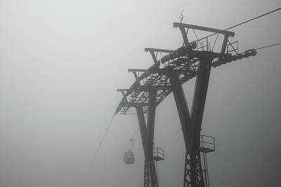 Anhui Photograph - Cable Car In Mist by Andy Qiang