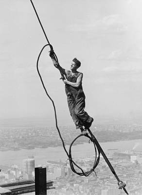 Cable Connection Art Print by Lewis W Hine