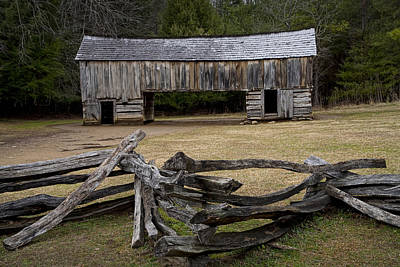 Split Rail Fence Photograph - Cable Mill Barn In Cade's Cove No.122 by Randall Nyhof