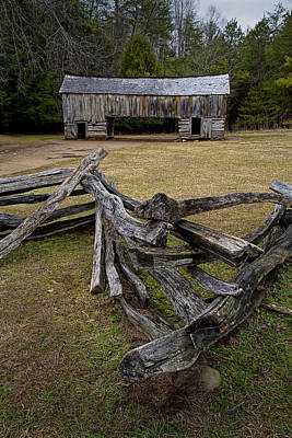Split Rail Fence Photograph - Cable Mill Barn In Cade's Cove No.123 by Randall Nyhof