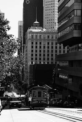 Cablecar On San Francisco California Street . Bw . 7d7176 Print by Wingsdomain Art and Photography