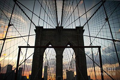 Brooklyn Bridge Photograph - Cables At Sunset by Cassandra Lemon