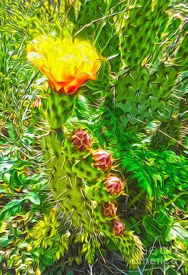 Art Print featuring the painting Cactus Flower - 02 by Gregory Dyer
