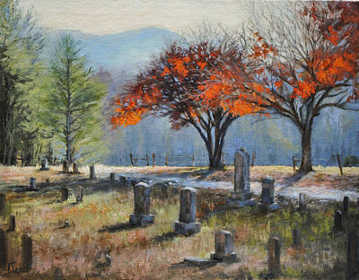 Cades Cove Painting - Cades Cove Cemetery by Katherine Tucker