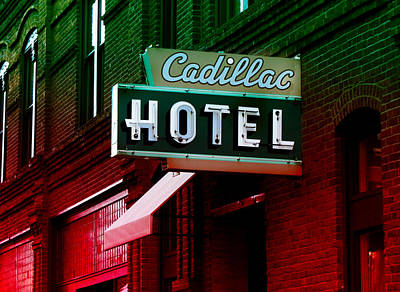 Photograph - Cadillac Hotel Retro Sign by Kathleen Grace