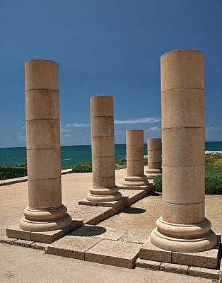 Photograph - Caesarea Columns by Endre Balogh