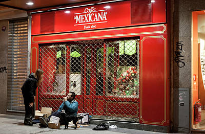 Photograph - Cafe De Mexicana Panhandlers by Lorraine Devon Wilke