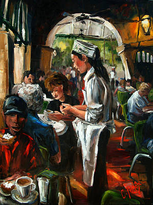 Espresso Painting - Cafe Dumonde by Carole Foret