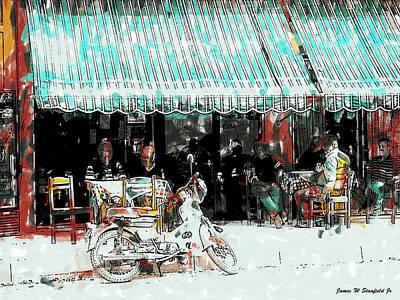 Crete Digital Art - Cafe by James Stanfield