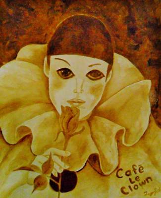 Brown Painting - Cafe Le Clown by Terry DeMars